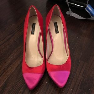Shoemint Red Satin Stilettos
